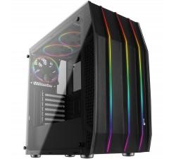 Caixa AEROCOOL ATX Midi-Tower, RGB Front, 3xFAN, 2x Glass Tempered - KLAW