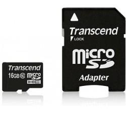 Micro SD TRANSCEND 16GB class10 c/adapt SD UHS-I SDHC (45MB/s-400X)